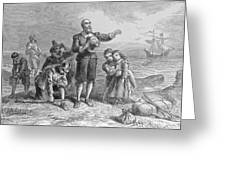 Landing Of The Pilgrims, 1620, Engraved By A. Bollett, From Harpers Monthly, 1857 Engraving B&w Greeting Card