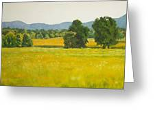 landscape art print oil painting for sale Fields Greeting Card