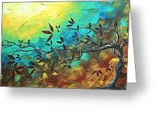Landscape Bird Original Painting Family Time By Madart Greeting Card