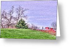 Landscape- Caboose - Little Red Caboose Greeting Card