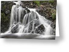 Landscape Detail Of Waterfall Over Rocks In Summer Long Exposure Greeting Card