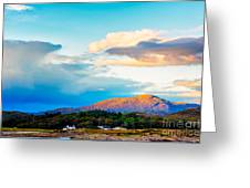 Landscape Evening Light Over Traigh House And Carn A Ghobhair Greeting Card