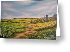 Landscape Field Grass Trees And Road  Greeting Card by Drinka Mercep