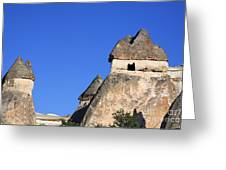 Landscape Of Limestone Fairy Chimneys At Zelve In Cappadocia Turkey Greeting Card