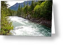 Landscape Of Mcdonald Creek Upstream In Spring In Glacier Np-mt Greeting Card