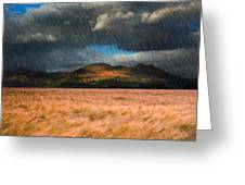 Landscape Of Windy Wheat Field In Front Of Mountain Range With D Greeting Card by Matthew Gibson