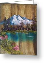 Landscape On Old Barn Siding Greeting Card