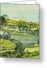 Landscape Pen & Ink With Wc On Paper Greeting Card