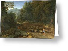 Landscape With A Shepherd And His Flock Greeting Card