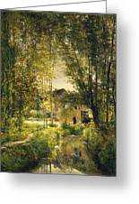 Landscape With A Sunlit Stream Greeting Card