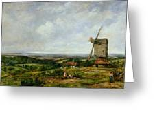 Landscape With Figures By A Windmill Greeting Card by Frederick Waters Watts