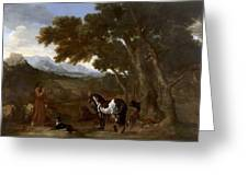 Landscape With Hermit Preaching To Animals Greeting Card