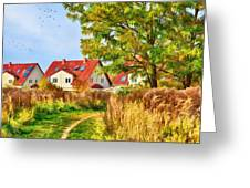 Landscape With Houses Greeting Card