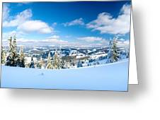 Landscape With Snow Covered Trees Greeting Card