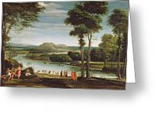Landscape With St. John Baptising Greeting Card