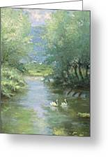 Landscape With Swans Greeting Card