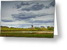 Landscape With The Dezwaan Dutch Windmill On Windmill Island In Holland Michigan Greeting Card