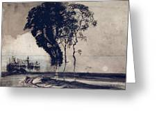 Landscape With Three Trees Greeting Card
