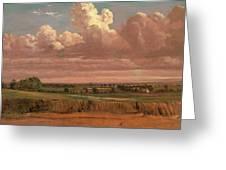 Landscape With Wheatfield Cornfield Under Heavy Cloud Greeting Card