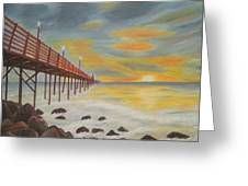 Landscapes Art - Sunset On The Rocks Oil Painting Greeting Card