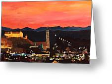 Landshut At Dawn With Alps Greeting Card