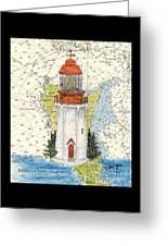 Langara Pt Lighthouse Bc Canada Nautical Chart Map Art Greeting Card
