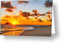 Lanikai Beach Orange Sunrise 3 To 1 Aspect Ratio Greeting Card