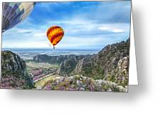Lanscape Of Mountain And Balloon Greeting Card