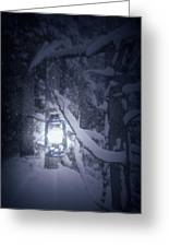 Lantern In Snow Greeting Card by Joana Kruse