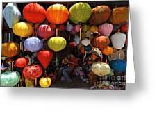 Lanterns Hanging In Shop In Hoi An Greeting Card by Sami Sarkis