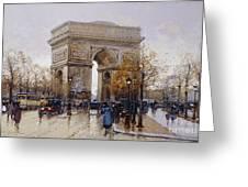 L'arc De Triomphe Paris Greeting Card by Eugene Galien-Laloue