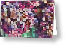Large Blocks Digital Abstract - Purples Greeting Card