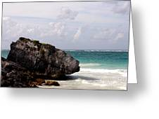 Large Boulder On A Caribbean Beach Greeting Card