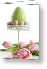 Large Easter Egg With Pink Tulips  Greeting Card