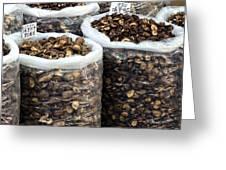Large Sacks With Dried Mushrooms Greeting Card