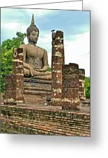 Large Sitting Buddha At Wat Mahathat In 13th Century Sukhothai H Greeting Card
