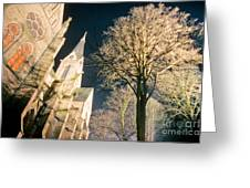 Large Stone Church At Night Greeting Card