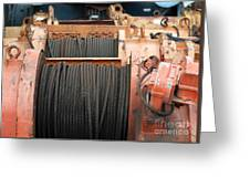 Large Winch With Steel Cable Greeting Card