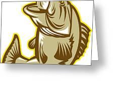 Largemouth Bass Fish Jumping Retro Greeting Card by Aloysius Patrimonio
