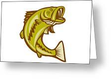 Largemouth Bass Jumping Cartoon Greeting Card