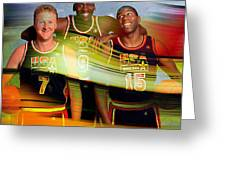 Larry Bird Michael Jordon And Magic Johnson Greeting Card by Marvin Blaine
