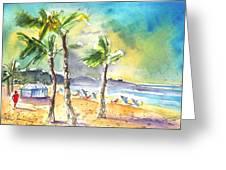 Las Canteras Beach In Las Palmas De Gran Canaria Greeting Card
