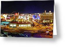 Las Vegas At Night - Panorama Greeting Card