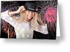 Las Vegas Fireworks Party Woman Greeting Card