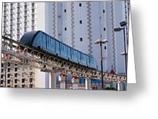 Las Vegas Monorail And Excalibur Hotel Greeting Card