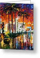 Las Vegas - Palette Knife Oil Painting On Canvas By Leonid Afremov Greeting Card