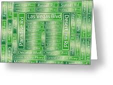 Las Vegas Street Road Signs  Greeting Card