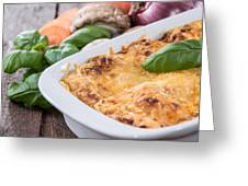 Lasagne In A Gratin Dish Greeting Card