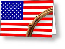 Lasso And American Flag Greeting Card