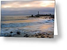 Last Light At Pigeon Point Lighthouse Greeting Card
